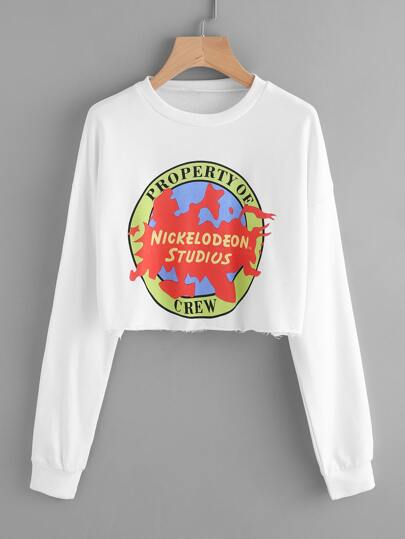 Graphic Print Raw Hem Crop Sweatshirt