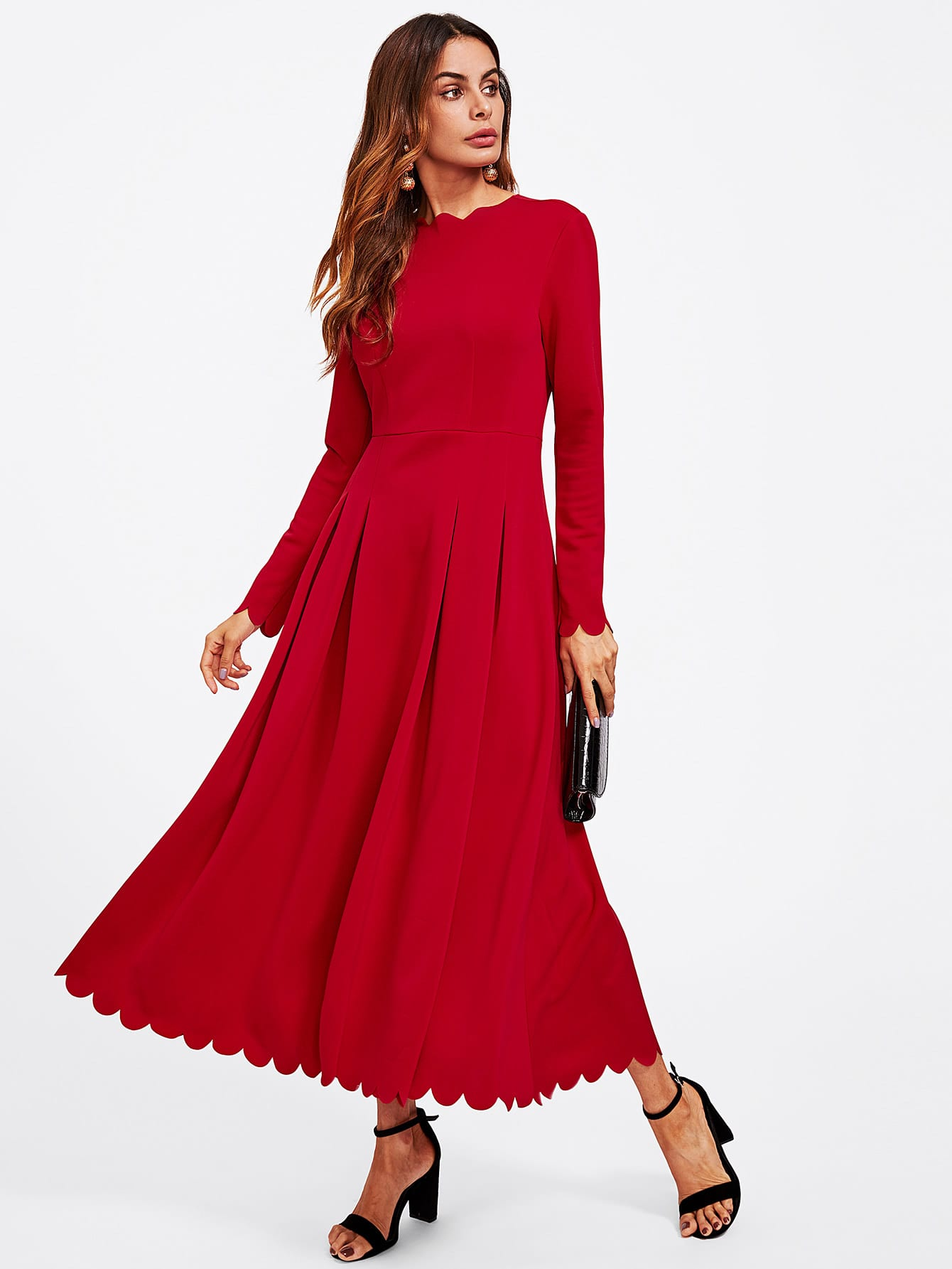 все цены на Scallop Edge Boxed Pleated Fit & Flare Dress