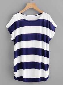 Contrast Wide Stripe Shirred Side Tee