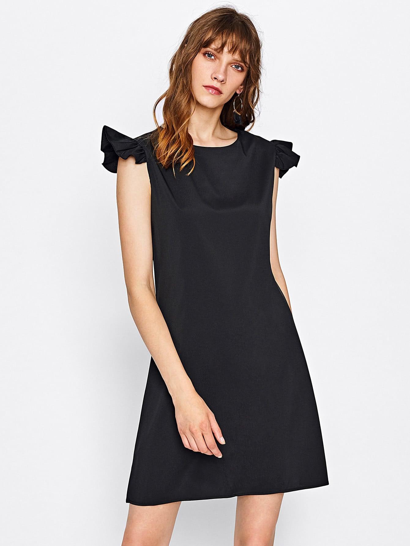 Frill Cap Sleeve Dress dress170803304