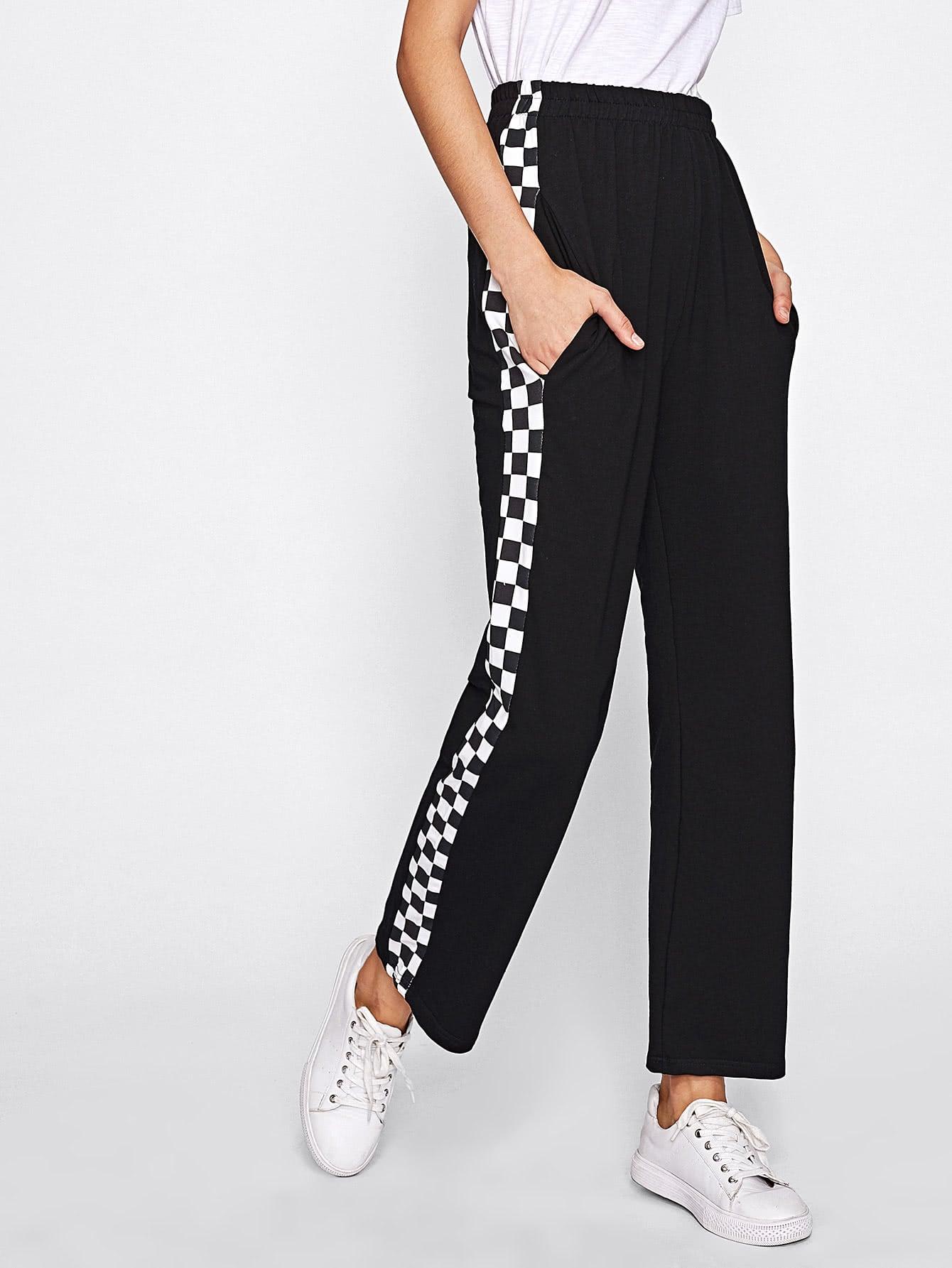 Модные брюки с клетчатыми лампасами | Shein