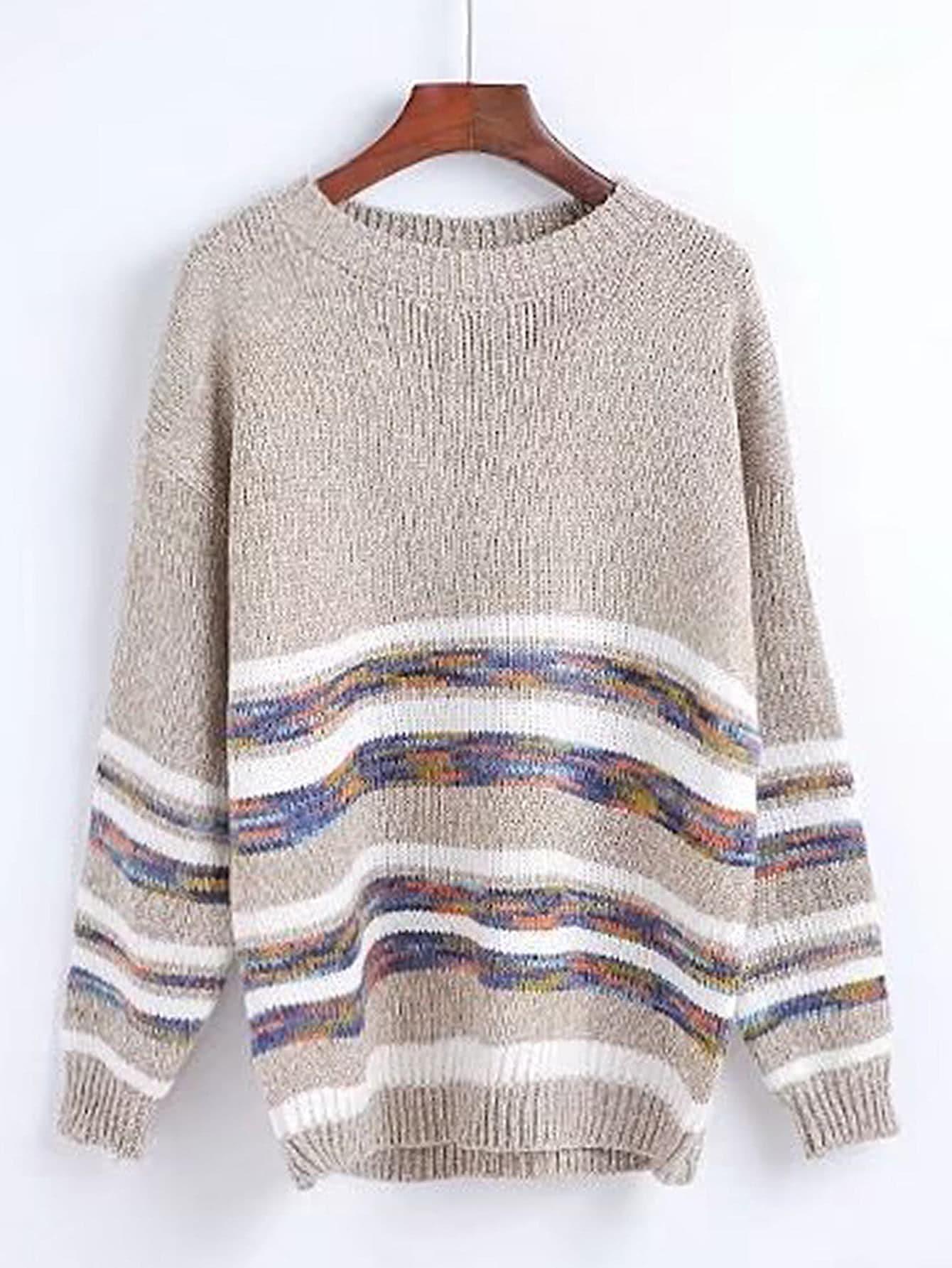 Striped Trim Drop Shoulder Seam Sweater
