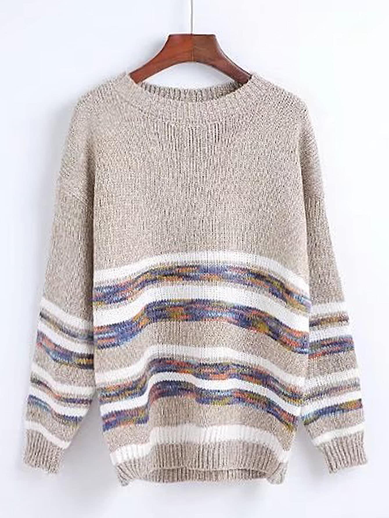Striped Trim Drop Shoulder Seam Sweater RKNI170811205