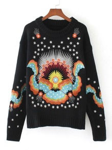 Ribbed Trim Embroidered Loose Sweater