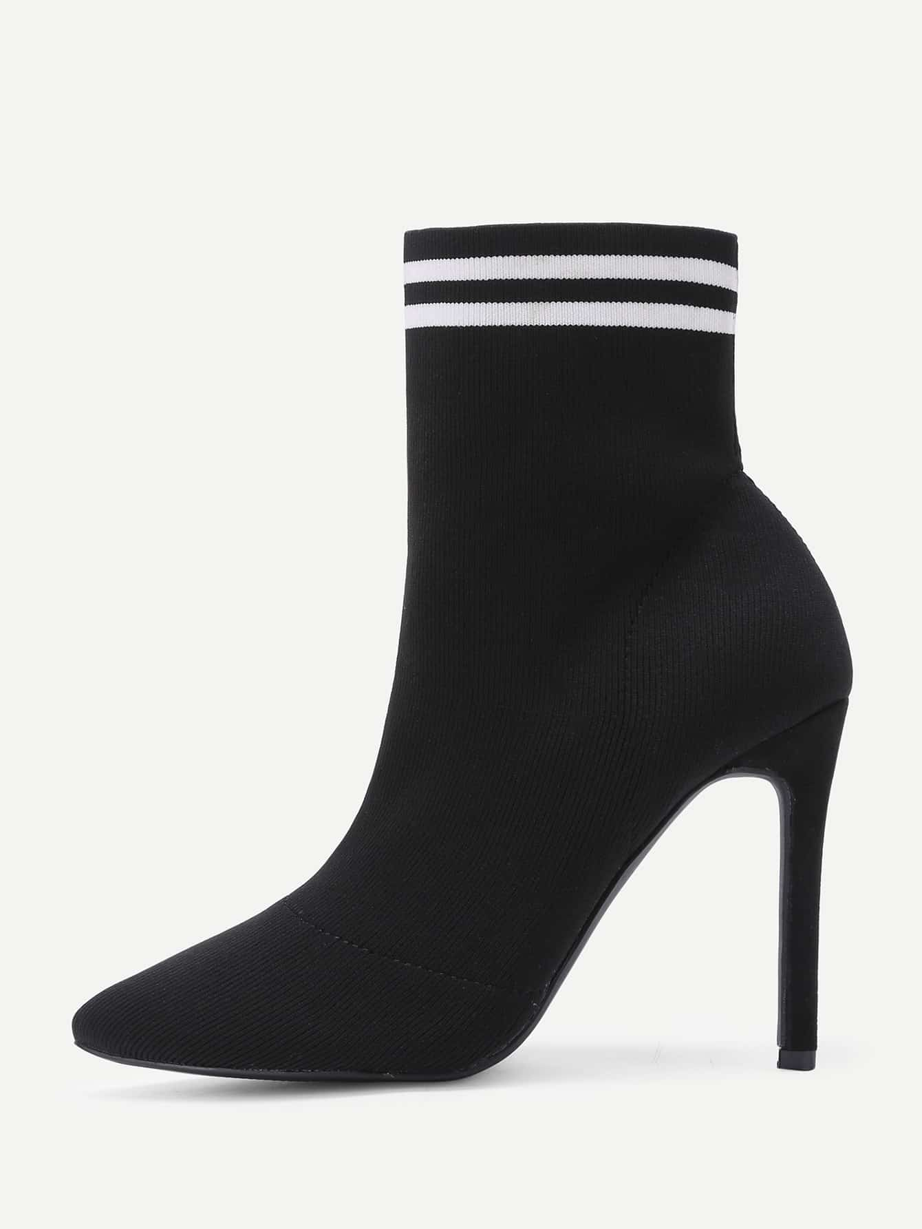 Striped Detail Court Heeled Ankle Boots
