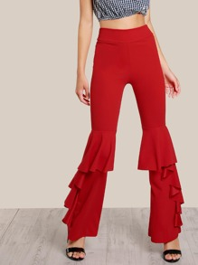 Ruffle Hem High Rise Pants RED