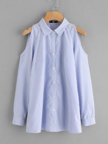 Cutout Shoulder Pinstripe Shirt