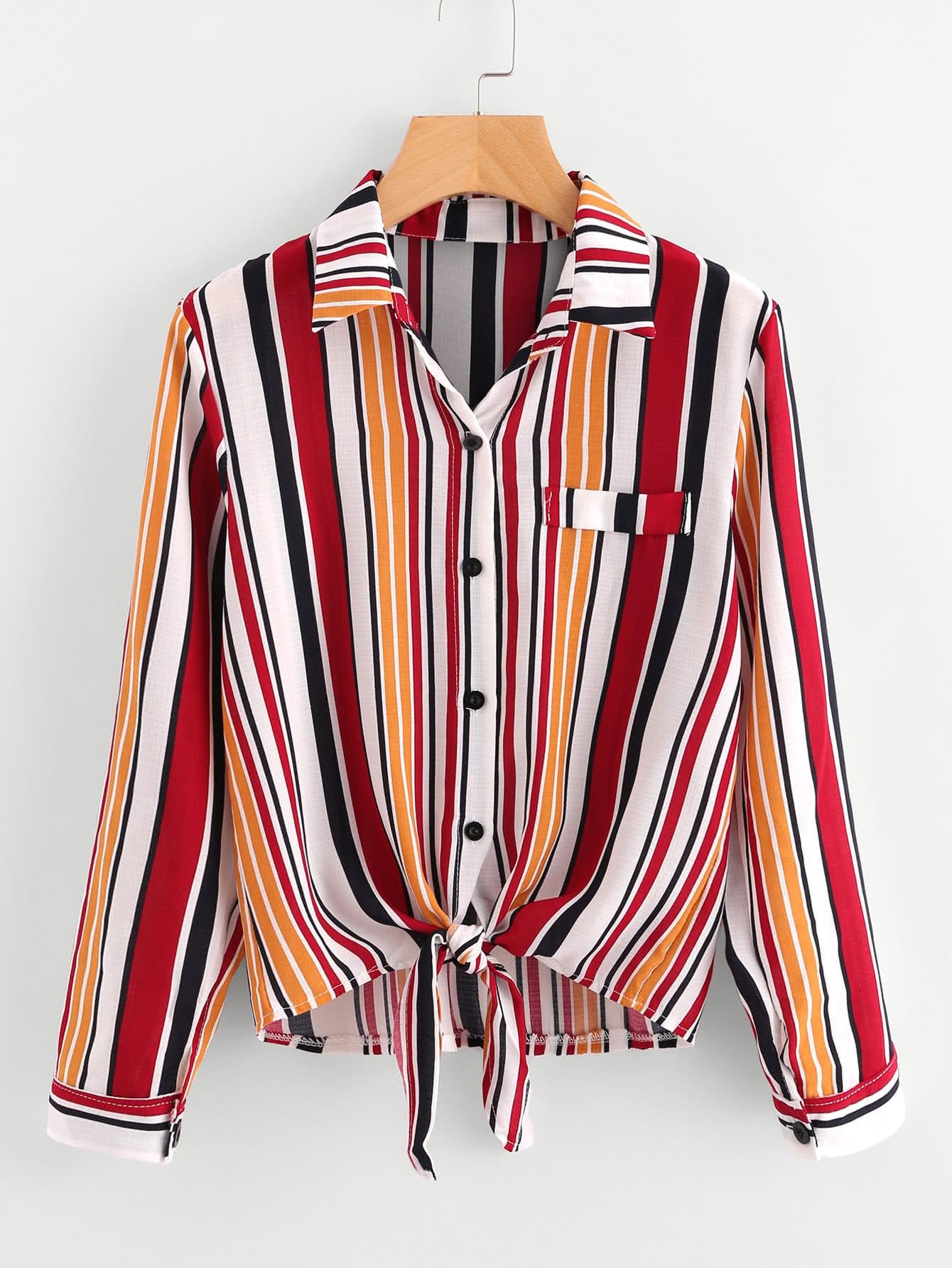 Roll Tab Sleeve Knotted Hem Striped Shirt stoosh new salmon juniors roll tab sleeve plaid shirt s $34 dbfl
