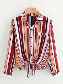 Roll Tab Sleeve Knotted Hem Striped Shirt
