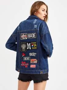 Badge Detail Back Contrast Check Trim Denim Jacket