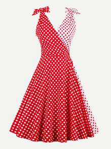 Contrast Bow Tie Detail Polka Dot Circle Dress