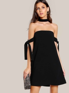 Tie Sleeve Choker Dress