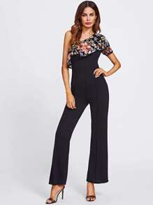 Embroidery Mesh Layered Oblique Shoulder Jumpsuit