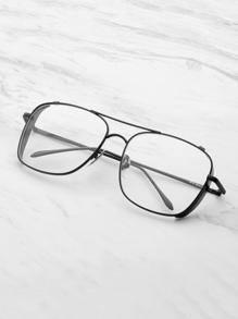 Skinny Frame Double Bridge Square Glasses
