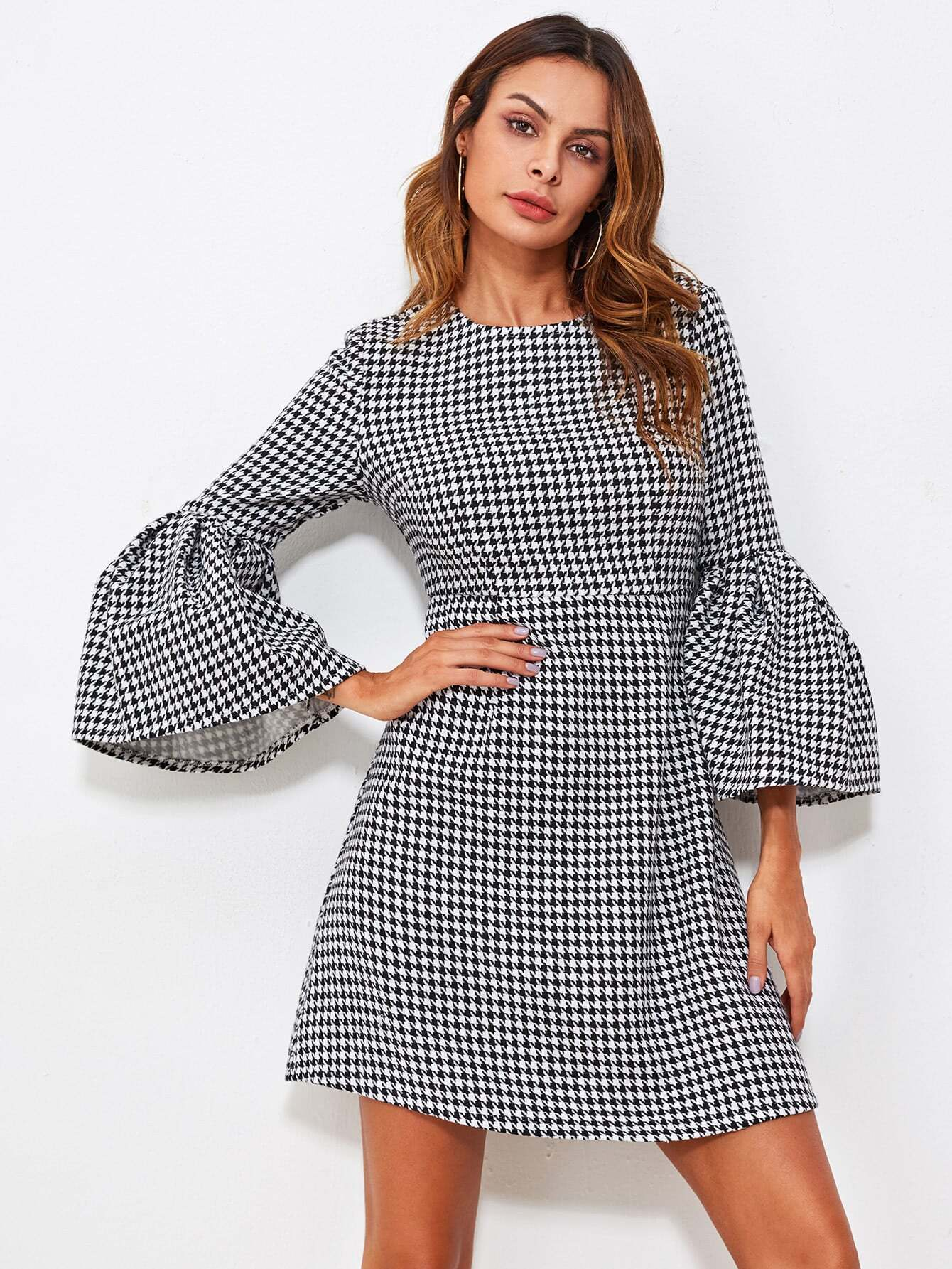 Fluted Sleeve Houndstooth Dress v notch pearl leaf chain detail fluted sleeve dress