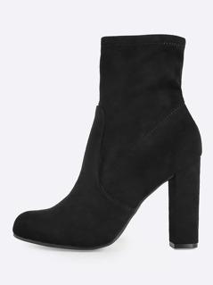 Zip Up Heel Booties BLACK