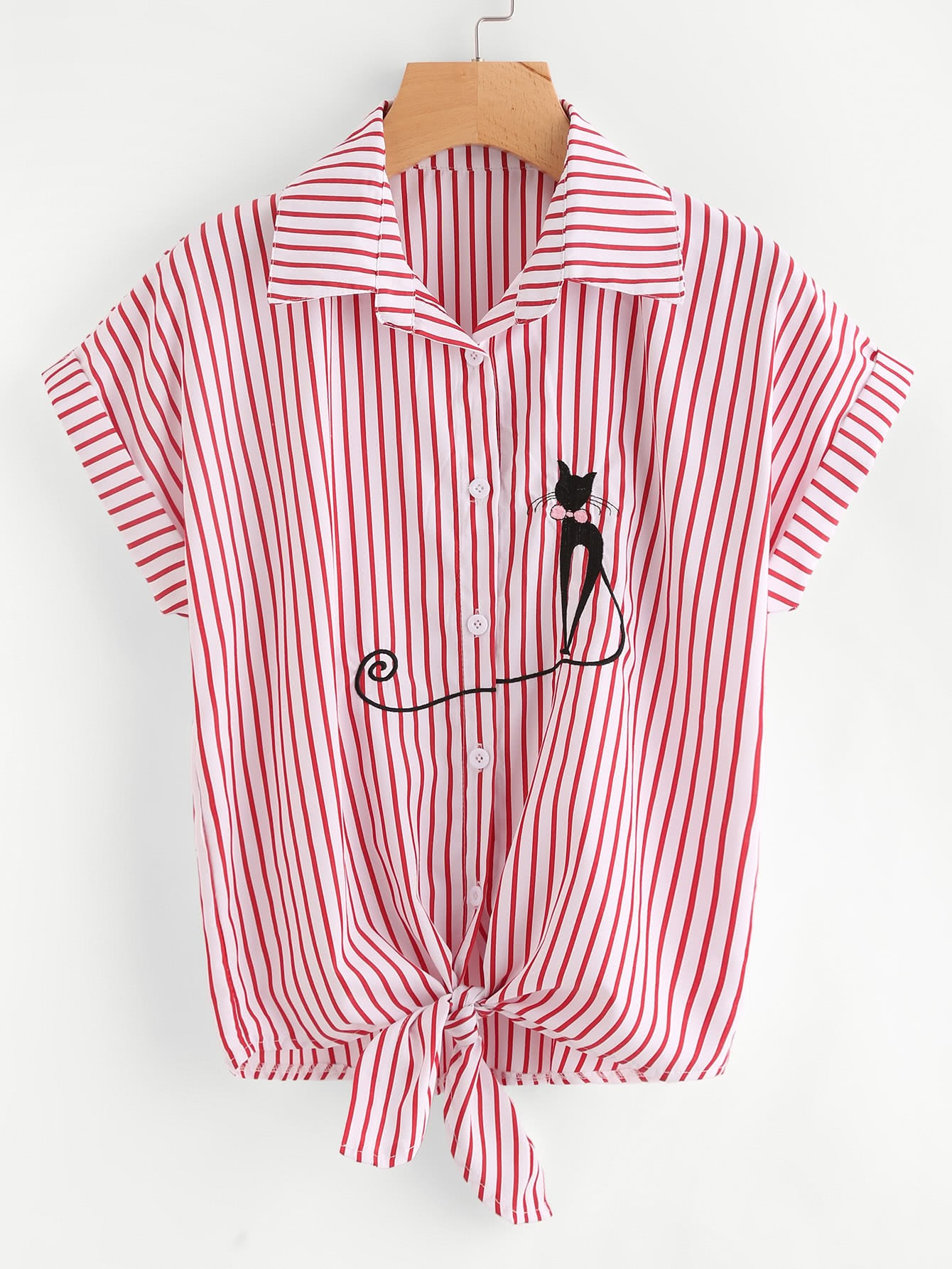 Cat embroidered cuffed tie hem striped shirt shein sheinside for Striped shirt with tie
