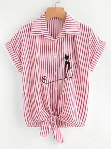 Cat Embroidered Cuffed Tie Hem Striped Shirt