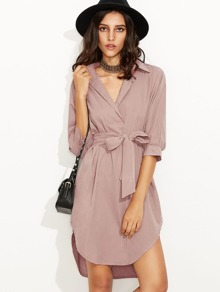 Curved Hem Self Tie Shirt Dress