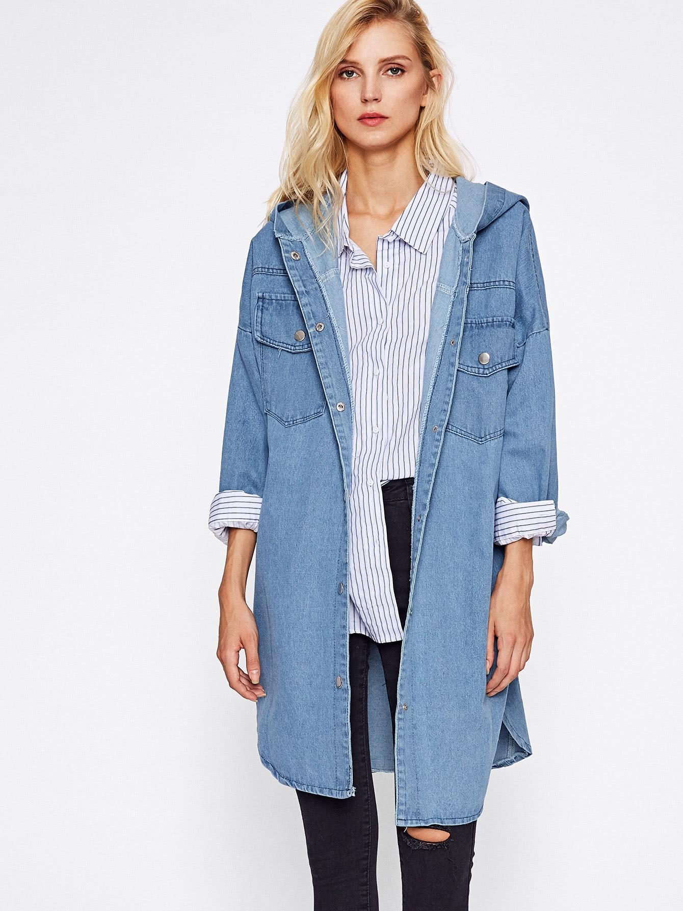 Drop Shoulder Hooded Denim Jacket