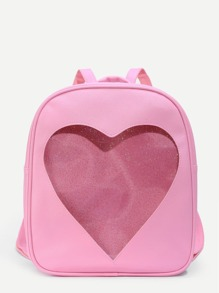 Glitter Heart Pattern PU Backpack