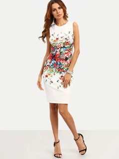 Abstract Flower Print Fitted Dress