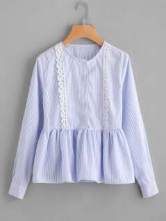 Lace Trim Half Placket Pinstripe Blouse