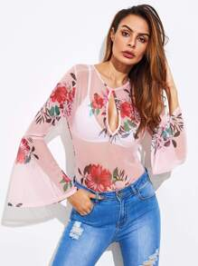 Cut Out Front Trumpet Sleeve Floral Mesh Bodysuit