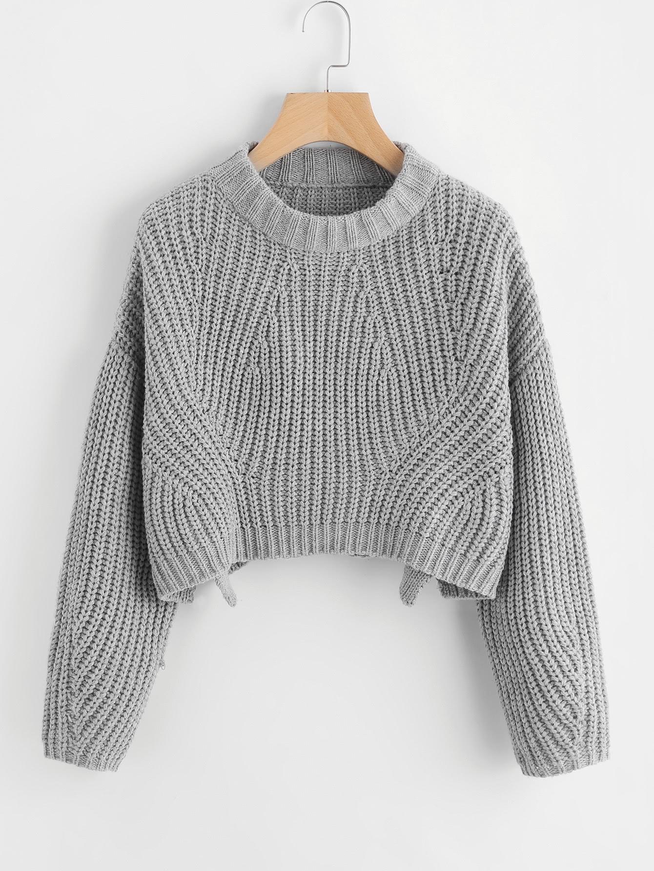 Vented Hem Chunky Knit Crop Jumper cable knit raw cut stepped hem jumper