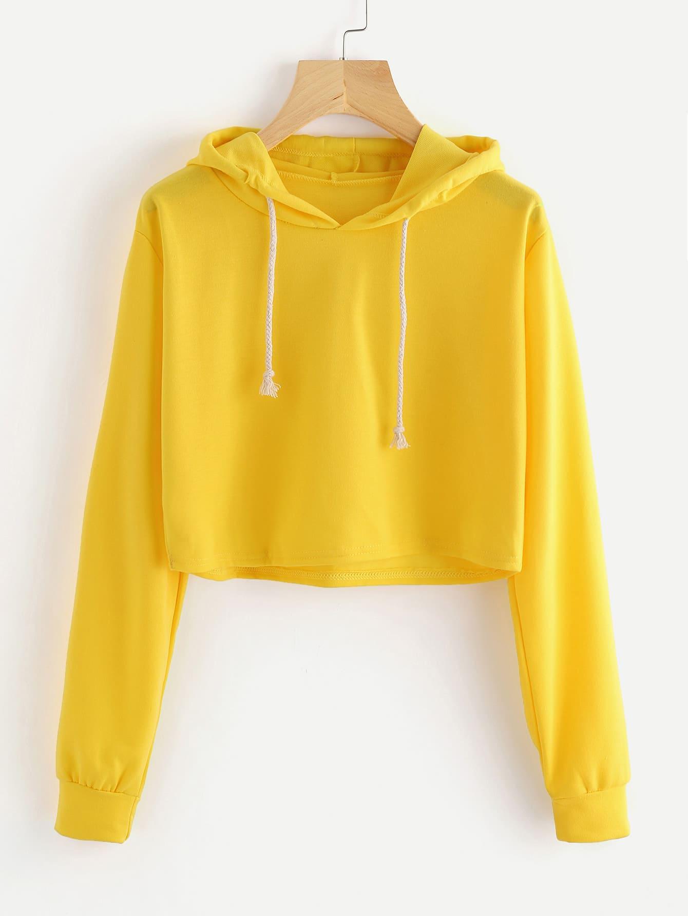 Drawstring Hooded Crop Sweatshirt alien print drop shoulder hooded drawstring sweatshirt