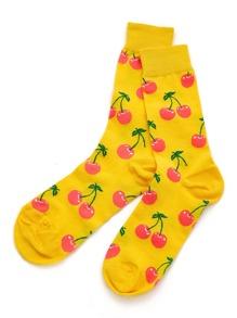 Cherry Print Calf Length Socks
