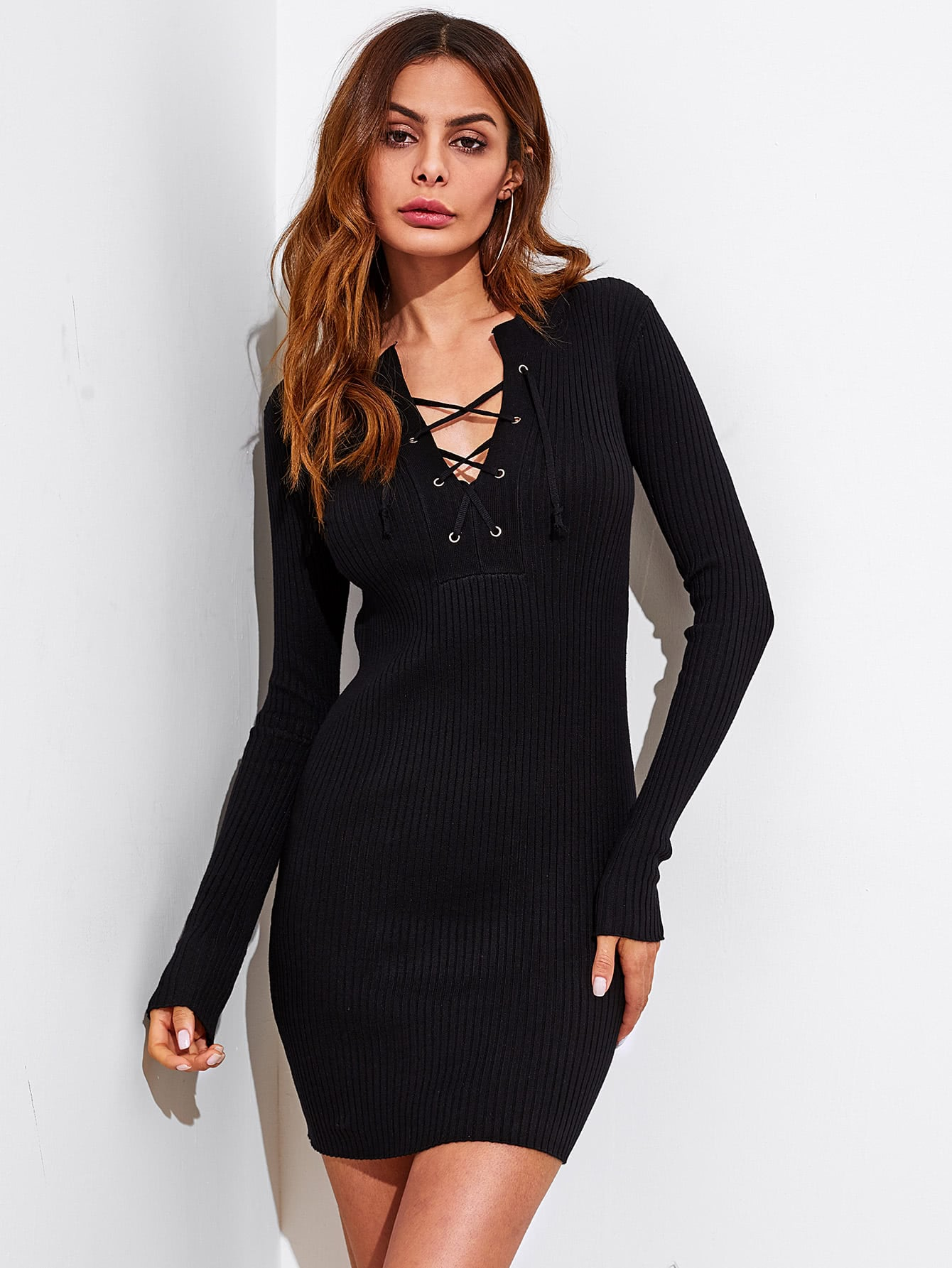 Eyelet Lace Up V Neck Ribbed Trim Sweater Dress sheer lace panel plus size leggings