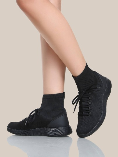 Stretch Knit Lace Up Sock Bootie Sneakers BLACK
