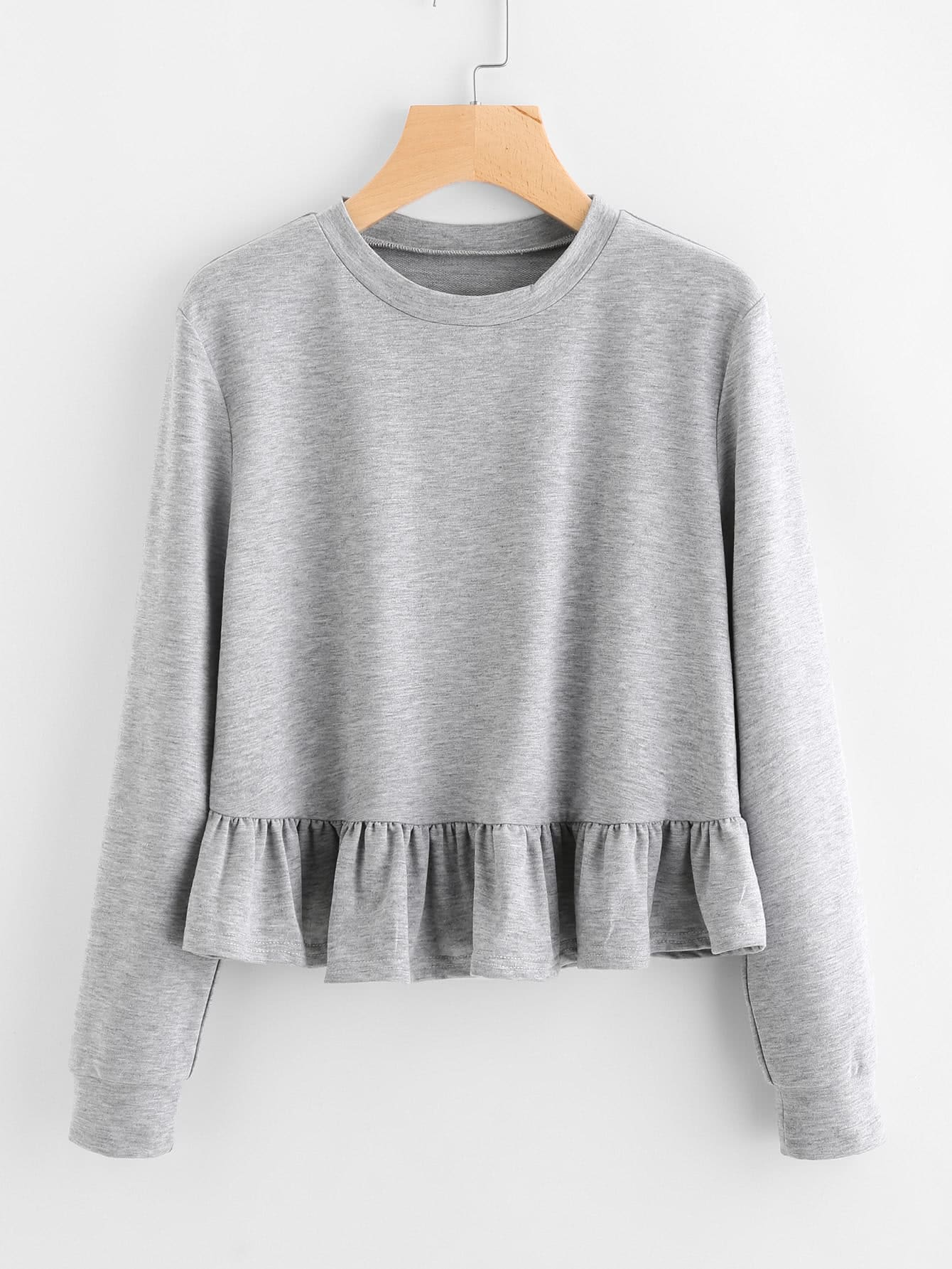 Frill Hem Slub Sweatshirt frill sleeve tape detail sweatshirt