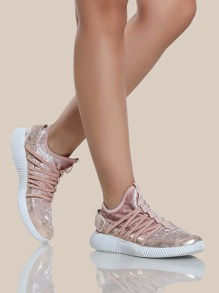 Velvet Strappy Sneakers BLUSH