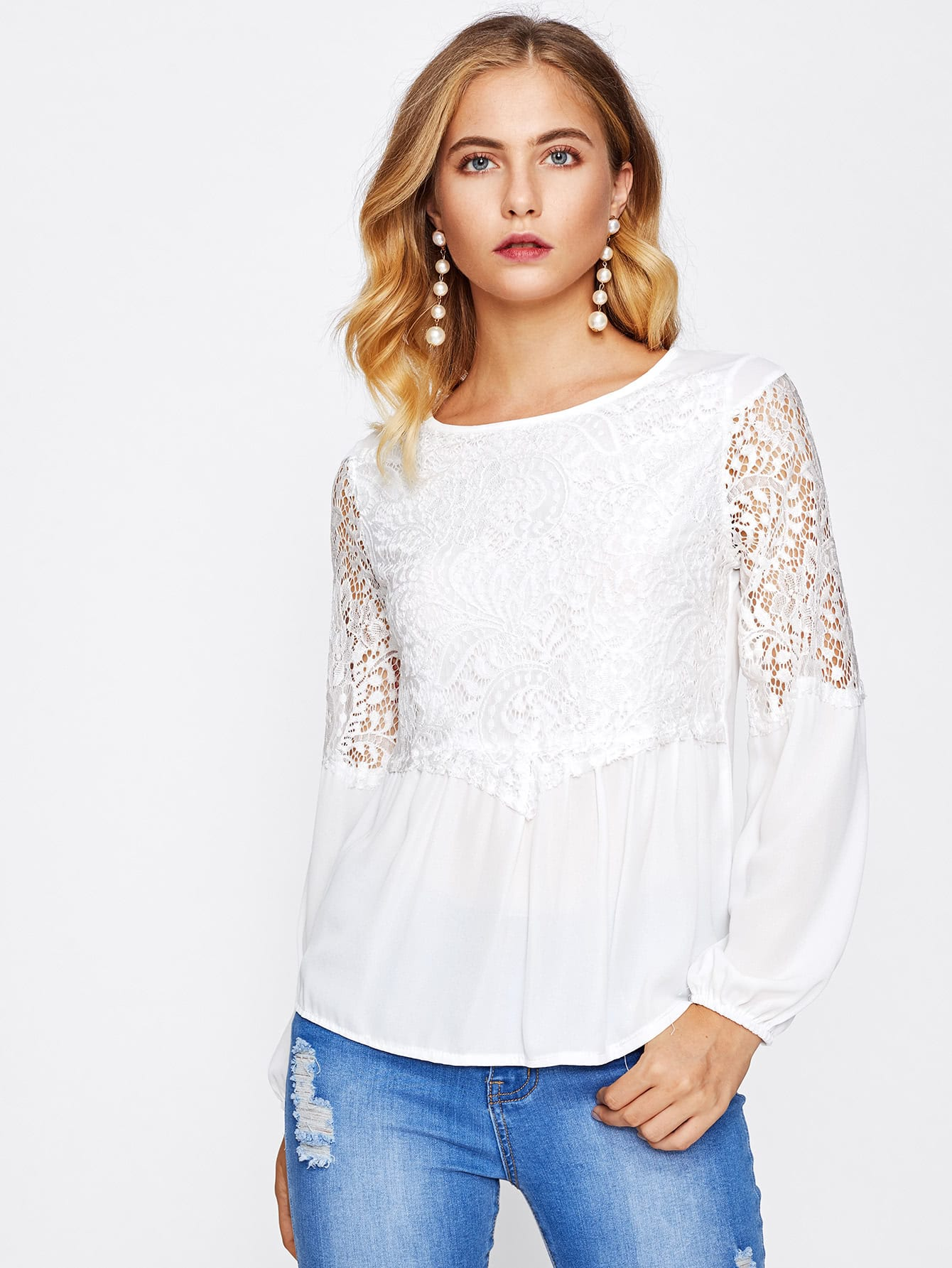 Hollow Out Lace Panel Blouse украшение luazon веселый снеговик 603019