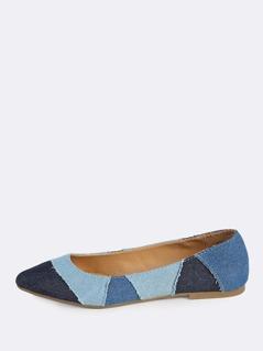 Denim Patchwork Point Toe Flats BLUE DENIM