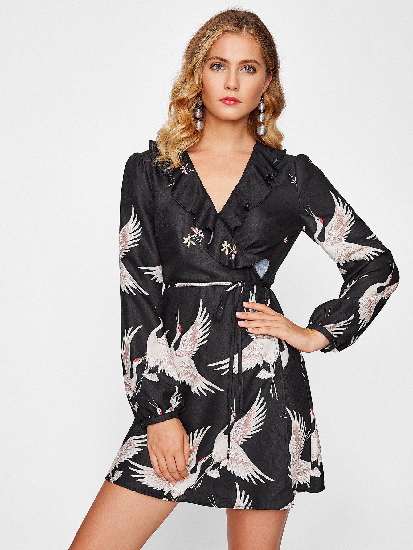 Frill Trim Surplice Wrap Dress layered frill sleeve surplice wrap top