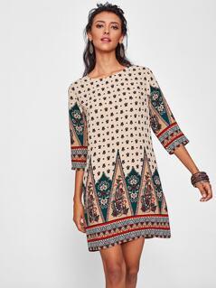 Ornate Print Tunic Dress