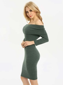 Fold Over Bardot Pencil Dress