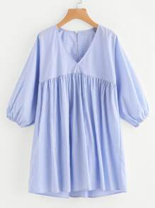 Lantern Sleeve Mixed Stripe Smock Dress