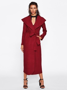 Self Belted Shawl Collar Coat