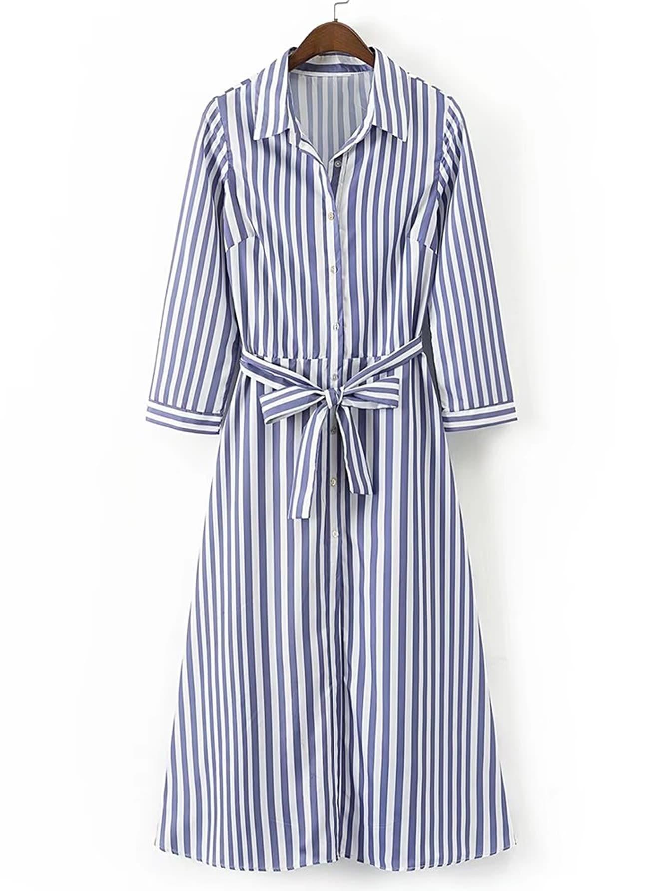Vertical striped tie waist a line shirt dress shein for Vertical striped dress shirt