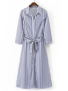 Vertical Striped Tie Waist A Line Shirt Dress