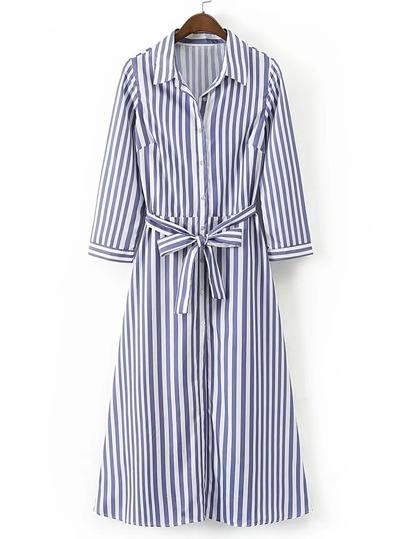 Vertical Striped Tie Waist A Line Shirt Dress