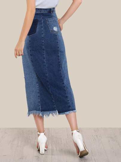 floor length distressed skirt denim shein sheinside