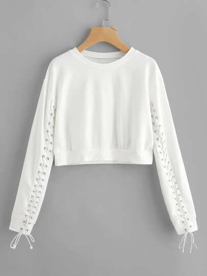 Grommet Lace Up Sleeve Crop Sweatshirt