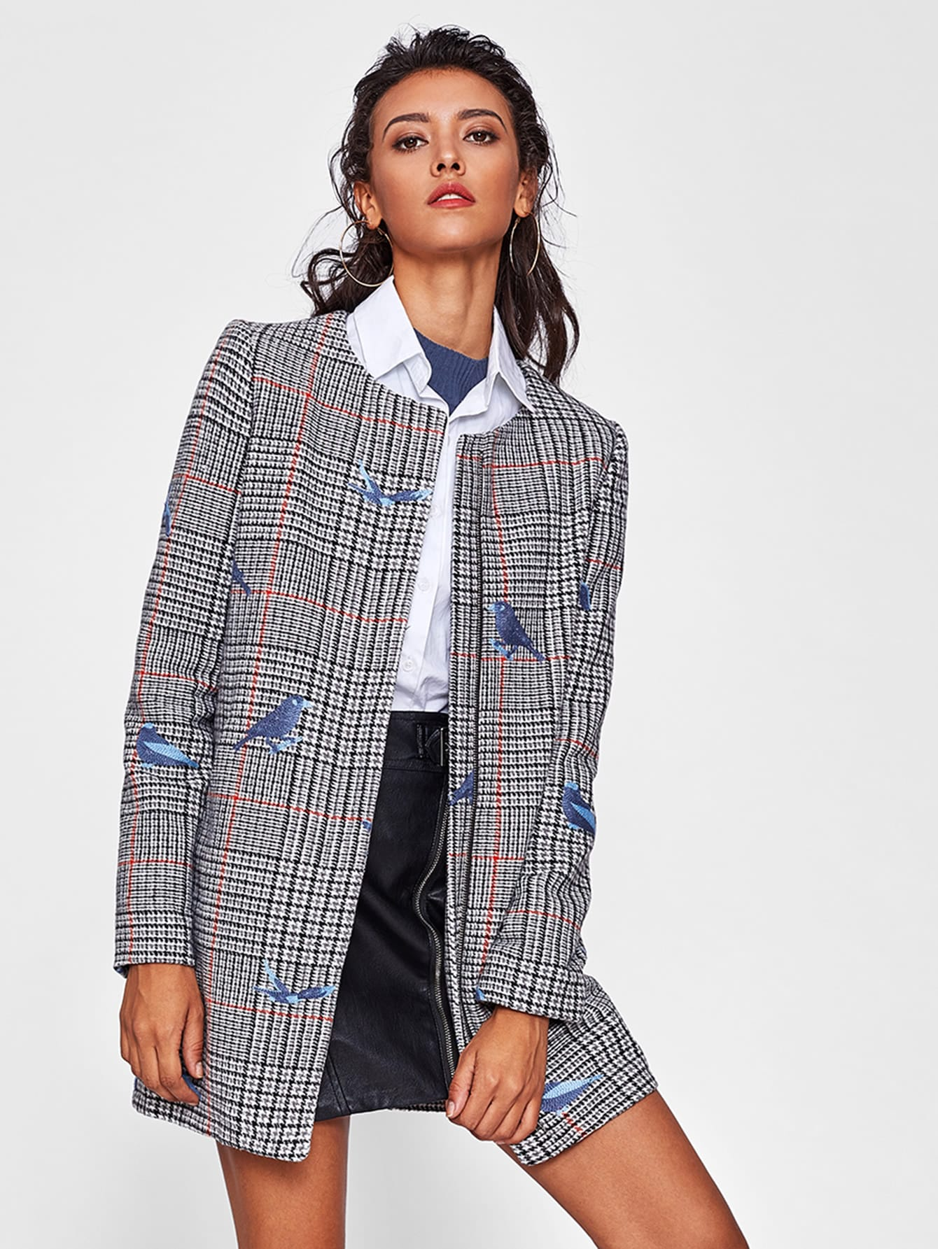 Bird Embroidered Hidden Zip Plaid Coat zip back fit and flared plaid dress