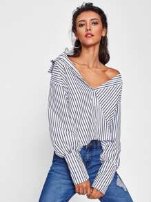 Vertical Striped Wide Cuff Shirt