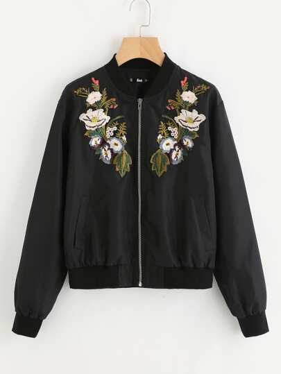 Symmetrical Botanical Embroidered Applique Bomber Jacket